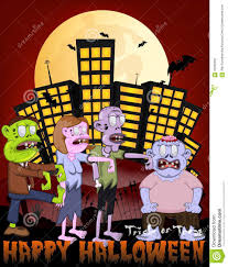 city halloween zombie in the city with happy halloween cartoon stock vector