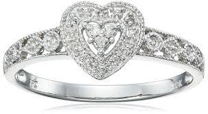 amazon com 10k gold diamond heart ring 0 04 cttw i j color i2