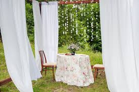Outdoor Gazebo With Curtains Outdoor Gazebo With White Curtains Wedding Decorations Stock