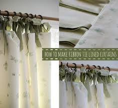 Curtains With Ties A Handmade Cottage How To Make A Lined Curtain With Ribbon Ties