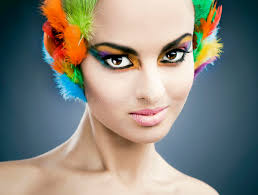 feathers in hair model with feathers in hair stock image image of makeup