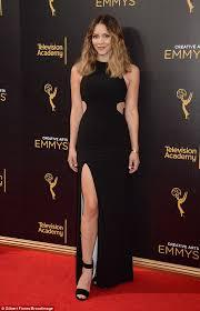 katharine mcphee stuns in a black cutout dress with thigh high