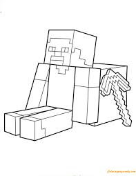 steve sitting with minecraft weapon coloring page free coloring