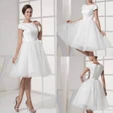simple knee length wedding dresses discount simple white stain scoop capped sleeve wedding