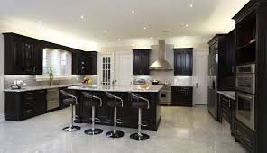 dark colored kitchen cabinets white wooden kitchen island wooden