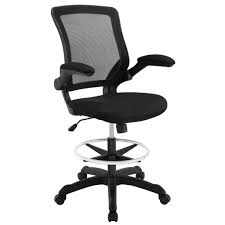 modway veer drafting chair in black reception desk chair tall