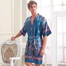 robe de chambre homme satin mens summer paisley print silk robes senior satin sleepwear