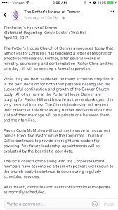 chris hill officially resigns as pastor of potter u0027s house denver