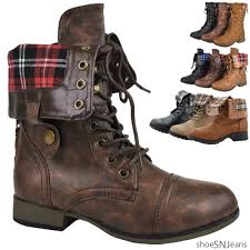 Rugged Boots For Women Fold Over Combat Boots Ebay