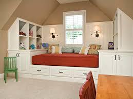 bedroom attic room under bed storage beige carpet kids room