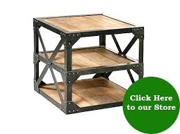iron and wood side table industrial end tables iron and wood side table click here to view
