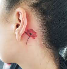poppy flower tattoo behind ear best tattoo ideas gallery