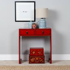 Narrow Console Table With Drawers Console Tables Red Console Table With Drawers Small Red Red