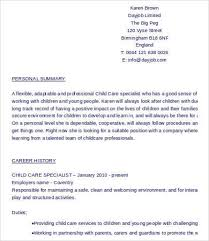 Personal Carer Resume Child Care Resume 6 Free Word Pdf Documents Download Free