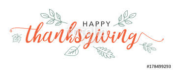 happy thanksgiving calligraphy text with illustrated green leaves