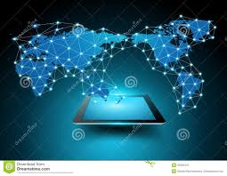 Vector World Map Vector World Map Connection With Tablet Computer Stock Vector