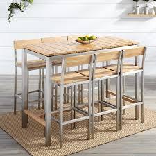 macon 7 piece rectangular teak outdoor bar table set natural