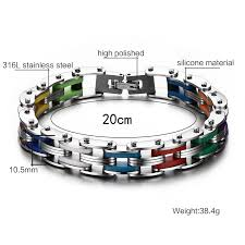 stainless steel bracelet clasps images Meaeguet stainless steel bracelet silicone men bangle rainbow 316l jpg