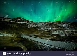 where are the northern lights located aurora borealis or northern lights over geothermal area krysuvik