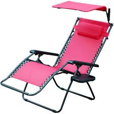 Outdoor Oversized Chair Zero Gravity Chair With Sunshade And Drink Tray In Red