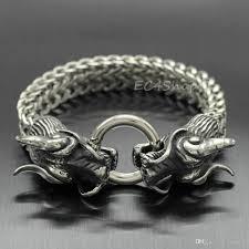 stainless silver bracelet images 8 men 39 s heavy dragon heads silver stainless steel franco cuban jpg
