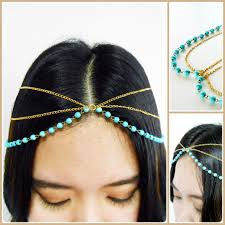 hair chains hair chain accessory silver and gold chain with turquoise