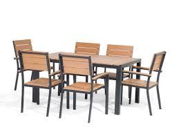 Esszimmertisch 150 X 150 Gartenmöbel Set Polywood Braun 150 X 90 Cm 6 Sitzer Como Beliani De