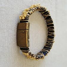 bracelet leather gold images Wire wrapped beaded bracelet gold beads jpg