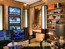 ultimate home office design with high tech computer and lcds and