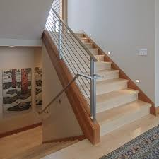 Banister Rail Steel Flat Bar Hand Rail Staircase Contemporary With Light Wood