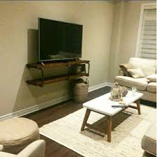 Wall Tv Stands With Shelves Rustic Industrial Tv Stand Pipe Wall Shelf Entertainment