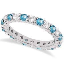 blue topaz engagement rings eternity diamond blue topaz ring band 14k white gold 2 40ct