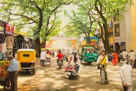 People Painting by India Street Scene 4 Oil Painting Landscape Street Scene Asia