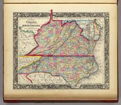 County Map Of Nc County Map Of Virginia And North Carolina David Rumsey