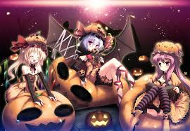 halloween anime pictures anime girls halloween touhou remilia scarlet patchouli