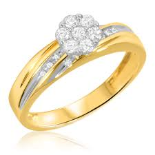 bridal ring set 1 3 carat t w diamond bridal wedding ring set 10k yellow gold