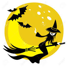 background halloween art nice flying witch on a moon background halloween illustration