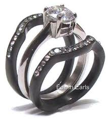 black bands rings images 3 piece black band wedding ring round brilliant cut cubic zirconia jpg