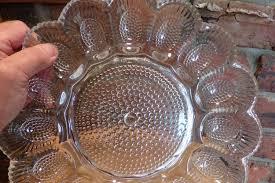 deviled egg platter vintage vintage indiana glass co hobnail clear depression glass egg