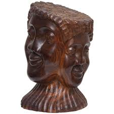 jamaican folk sculpture of three faces for sale at 1stdibs