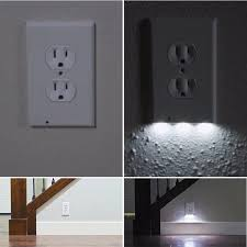 receptacle cover night light snap on night angel led wall outlet cover cool gift lab