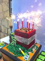 minecraft birthday party ideas cake with sparkler candles from a minecraft birthday party via