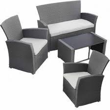 table pour canapé salon de jardin avec table canapé et 2 fauteuils résine tressée gris