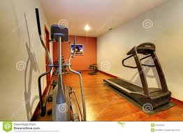 modern home gym in the basement stock photo image 23634220