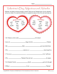 valentine u0027s day adjectives and adverbs 3rd 5th grade worksheet