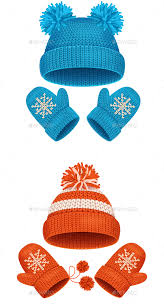 hat and mitten set winter accessories vector by mousemd
