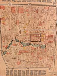 Large Vintage World Map by Vintage Colored Oriental Chinese Map Of Beijing Aka Peking The