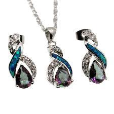 opal pendant necklace australia images Fire australian opal jewelry set 925 sterling silver earrings jpg