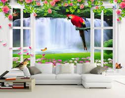 aliexpress com buy 3d mural wallpaper forest bird white window