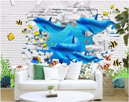 aliexpress com buy custom photo 3d wallpaper brick wall ocean aliexpress com buy custom photo 3d wallpaper brick wall ocean dolphin painting wall papers home decor 3d wall murals wallpaper for living room from